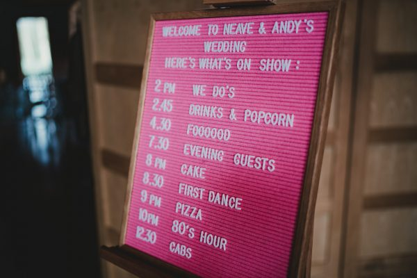 wedding running order on a pink notice board, styal lodge wedding photography, styal lodge wedding photographer, manchester wedding photographer, manchester wedding photography, cheshire wedding photographer, cheshire wedding photography