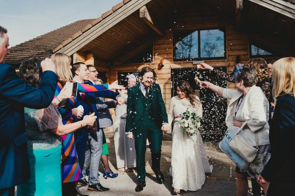 confetti being thrown on the bride and groom, styal lodge wedding photography, styal lodge wedding photographer, manchester wedding photographer, manchester wedding photography, cheshire wedding photographer, cheshire wedding photography