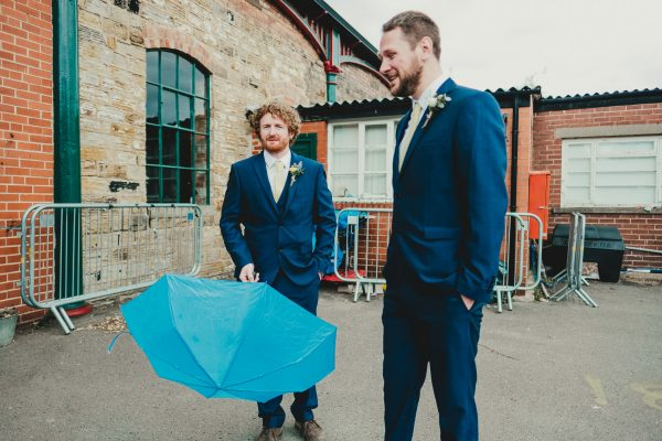 groomsmen hold an umbrella, elsecar heritage centre wedding photographer, elsecar heritage centre wedding photography, elsecar heritage centre wedding, ayesha photographer, manchester wedding photographer, manchester wedding photography, sheffield wedding photographer, sheffield wedding photography, barnsley wedding photographer, innercity weddings
