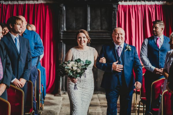 bride and her father walk up the aisle at Chetham's library, chetham's library wedding photographer, chetham's library wedding photography, lock 91 wedding photographer, lock 91 wedding photography, manchester wedding photographer, manchester wedding photography, cool manchester wedding, creative manchester wedding photographer