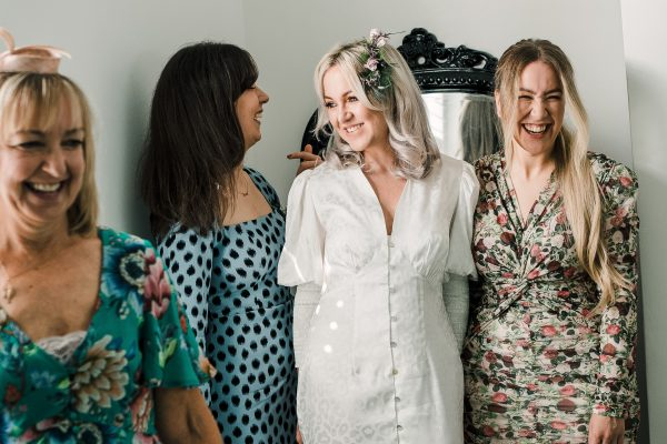 Bride with her sisters and mum