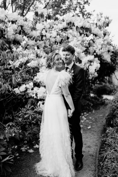 bride wears charlie brear dress