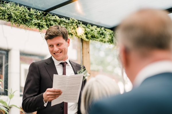 groom gives wedding speech at zitano in chorlton